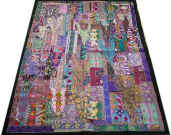 """Hippie bedding """"Purple Rain"""" bohemian colorful bedding for your boho bedroom decor - patchwork quilt queen size made of vintage saree"""