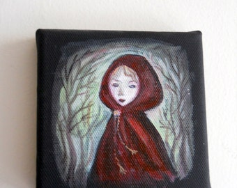 Original Black Canvas Painting, Little Red Riding Hood Fairytale Art