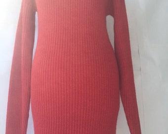 Red knit dress Knitted dress Sweater dress Ladies knitwear Ladies sweater Ladies vneck sweater Red dress Red knitwear Woman fashion