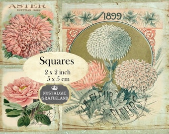 Vintage Flowers 2x2 inch squares Instant Download digital collage sheet TW149 pink flower