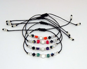 Bracelets friendship gemstone black and white howlite and Crystal beads to choose