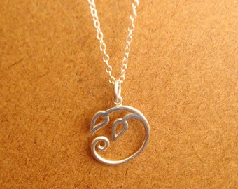 Botanical Charm Holder with Swirling Leaves Sterling Silver Thin Chain Necklace
