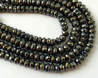 Black Pyrite Beads, Black Pyrite Faceted Rondelles, Pyrite Necklace, 6mm Beads, 7 Inch Strand, Pyrite Wholesale
