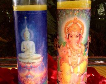 Sacred Symbols {Buddha & Ganesh} Vibrational Candles