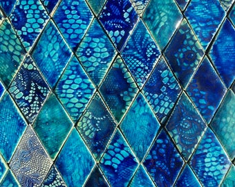 0.25 sqm Blue and Aqua Textured Diamond-shaped Stoneware Tiles *Seconds*