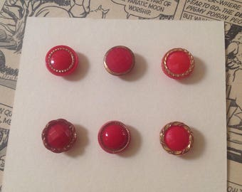 Vintage Glass Button Collection. Red. Small. Gold Lustre.