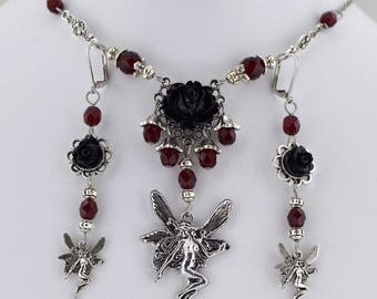Fairy Rose - Garnet Red and Black fairy necklace - Fantasy gothic jewelry - Fantasy Victorian Fairy Necklace - ready to ship