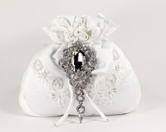 White Charmeuse Silk Money Bag with Stunning Swarovski Crystal Accent, White Dance Bag with Swarovski crystal accent