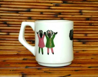 Children of Africa White Earthenware Ceramic Hand Made Mug Set