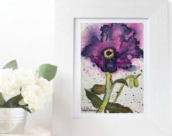 Purple Poppy Original Watercolor Painting, Violet Office Wall Art, Botanical Art, Colorado Western Art Painting, Purple Flower Art