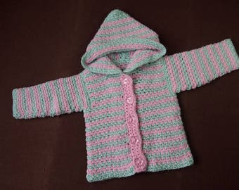 Pink & Green Striped Baby Girl's 12 month Hoodie Handmade