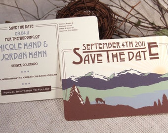 Rocky Mountains Colorado Wedding Save the Date Postcard