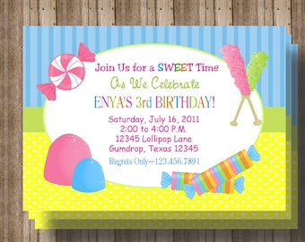 CANDY BIRTHDAY INVITATION/Girls Sweet Shoppe Birthday Party Invitation Cute/ Printable File /1st 2nd 3rd Birthday/ Matching Items Available