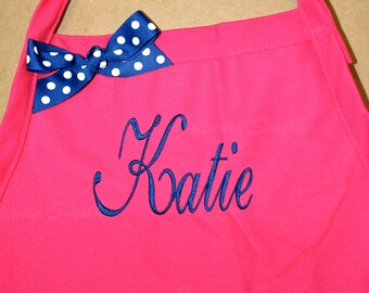 Embroidered monogram Family Name initials Apron 24