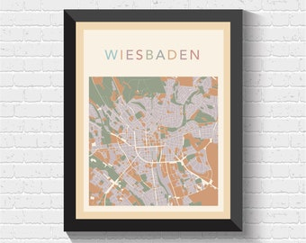 Map of wiesbaden Etsy