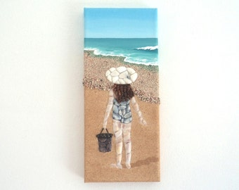 Acrylic Painting, Beach Artwork with Seashells and Sand, Girl on Beach in Seashell Mosaic on Sand, Mosaic Art, 3D Art Collage, Home Decor
