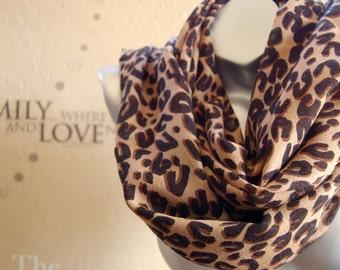 100% Wool scarf,Brown leopard infinity Scarf ,Very Popular leopard print Scarf ,cute infinity Scarf scarf ,Handmade scarf
