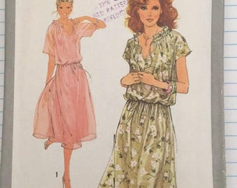 Simplicity 8588 size 12 bust 34  1979's pullover dress sewing pattern  kimono sleeves
