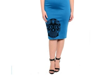 Sugar Skull Skirt Womens Plus Size Clothing 2XL Pin up Cute Skulls Pencil Skirts screen printed Retro dress 3XL