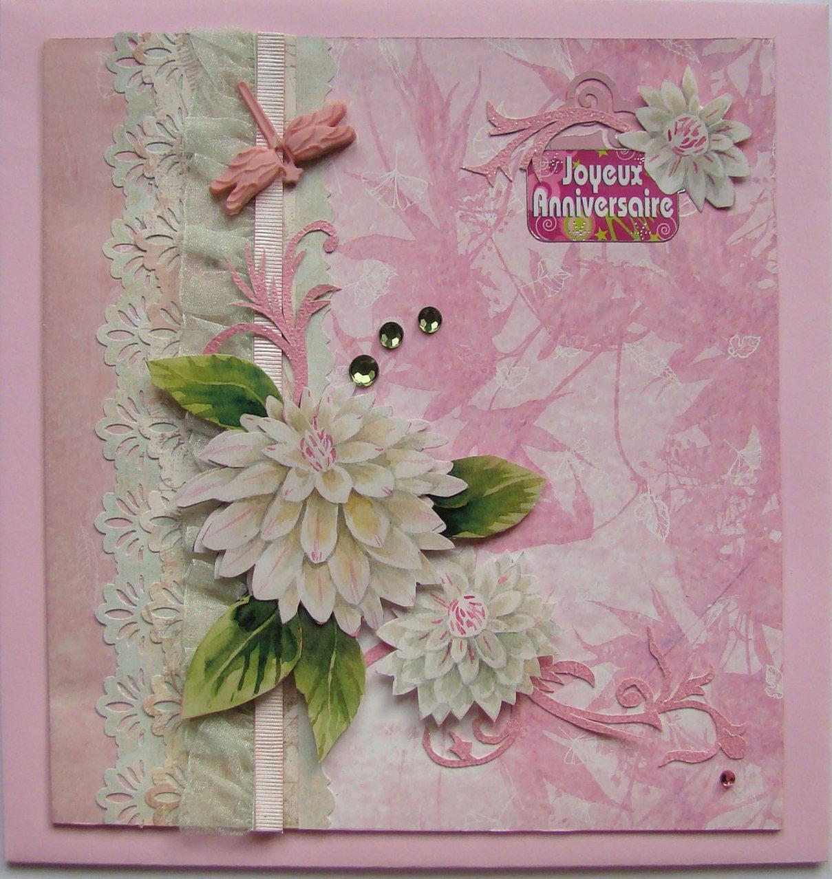 jolie carte fleurie de dalhias pour un bon anniversaire. Black Bedroom Furniture Sets. Home Design Ideas