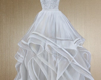Custom wedding gown portrait painting 8x10 original painting made to order custom wedding dress painting choose a size free shipping junglespirit Choice Image