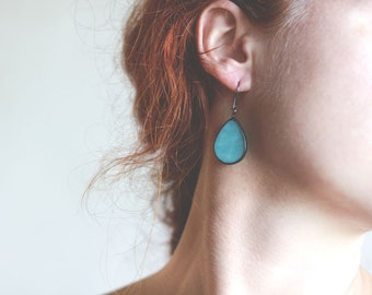 Simple Turquoise Blue Earrings, Big Drop Earrings, Minimalist Summer Bright Jewelry, Stained Glass Beautiful Gift Idea, For Her