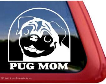 Pug Mom | DC953MOMJ | High Quality NickerStickers Adhesive Vinyl Window Decal Sticker