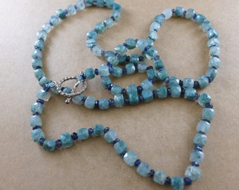 Amazonite and Iolite Sterling Toggle Necklace