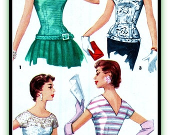 UNCUT Vintage Simplicity Pattern 1126 - ELEGANT Evening Fitted OverBlouse w/ Options // Bust 34