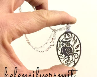 Owl Pendant, Owl Necklace, Folk Art Pendant, Owl Pendants, Statment Owl Spoon Necklaces, Silver Statement Jewelry, Silver Folk Art Jewelry