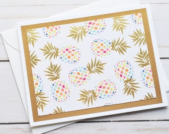Pineapple Note Cards // Set of 6 // Blank Cards // Colorful Pineapples // Gold Foil // Thank You Cards // Tropical Note Cards