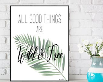 Palm poster, Palm print, Inspirational quote, Home wall decor, Office wall decor, Word art, Digital typography, Modern design poster