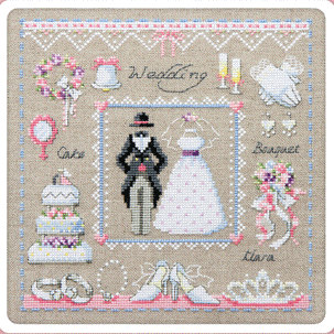Wedding sampler cross stitch pattern and kit counted cross