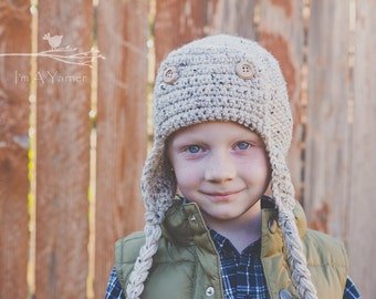 Aviator Hat, Tan Aviator, Crochet Aviator Hat, Crochet Hat, Boy Hat, Baby Boy Hat, Kids Hat, Adult Hat, Winter Hat, Newborn Hat, Photo Prop