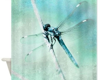 Shower Curtain, Dragonfly Shower Curtain Teal Aqua Aquamarine Whimsical Nature Dreamy, Botanical, Bathroom Decor For the Bath