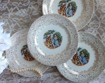 Royal China Co Colonial Gold Bread and butter Plates Shabby Chic Wonderful gold filigree and Romantic Couple in Center 22-K-Gold