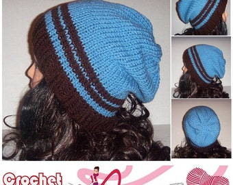 Blue and Brown Slouchy Knit Beanie Hat with Stripes