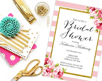 Instant Download Editable Baby Shower Invitations, Pink Chic Bridal Shower Invitation, Printable Invitation, Pink Stripes, Floral TLC50 BS11