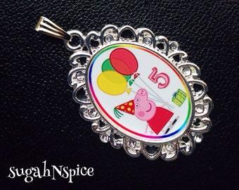 Peppa Pig Birthday custom necklace pendant Peppa Pig jewelry birthday number Custom Birthday theme Peppa Pig necklace Peppa Pig pendant