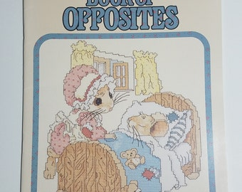 The Merry-Mouse Counted Cross Stitch Book of Opposites Mice by Gloria and Pat New from 1988