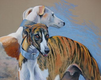 Large Print- greyhound, wall art, home decor, decorating, dog, rescue, pet, art, pastel, painting, signed