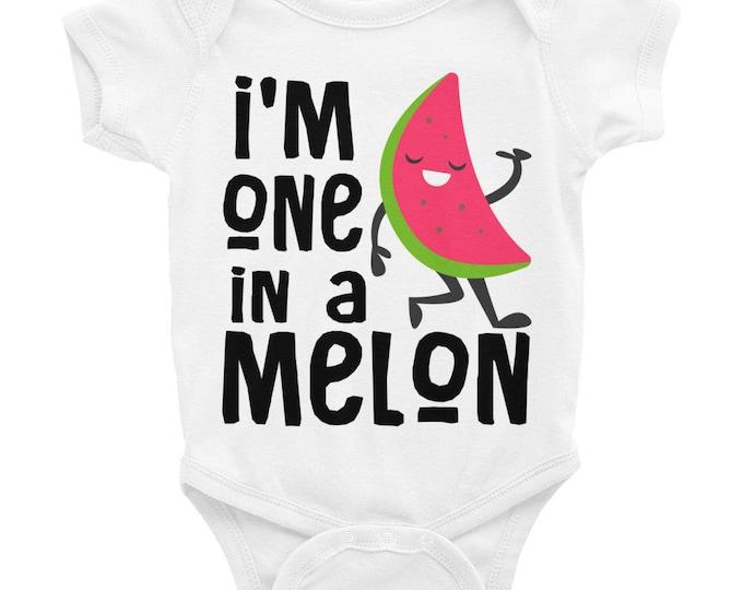 One in a Melon baby onesie® , Cute baby onesies, watermelon onesie, watermelon outfit, watermelon baby, watermelon shirt, food onesie