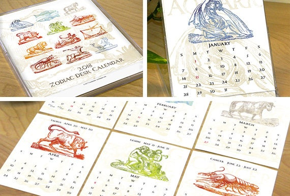 2018 desk calendar, 1/2 PRICE SALE!!, zodiac desk calendar, 2018 zodiac calendar, horoscope calendar, office desk calendar