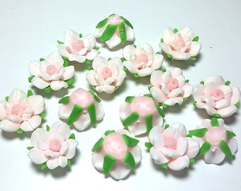 20 Fimo Polymer Clay Rose Flower Fimo Beads 20mm White Pink