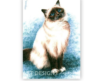 ACEO Cat Art Print, Birman Seal Point Cat, Archival Print, Artist Trading Card, SFA, Small Format Art, Pastel Print, Cat Drawing, ADA-P366