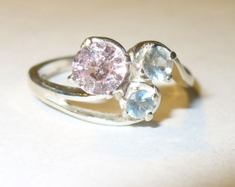 Fancy Pink and Delicate Blue Sapphires in Solid Sterling Ring - Size 5.75
