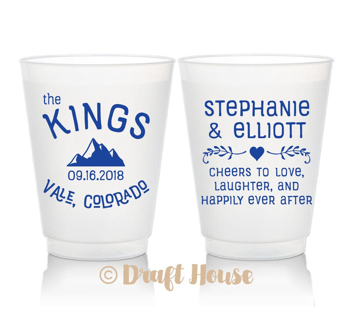Frosted Wedding Cups Mountain Wedding Cheers Love Laughter