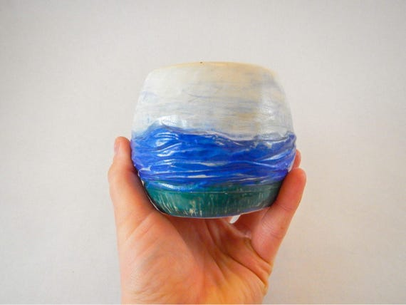 Hand-Carved Round Ceramic Mountain Cup