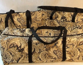 Carrying Case for the Cricut Explore Air / Silhouette Cameo 3 / Brother ScanNCut / Laptop Sleeve / Accessory Bag / Black Khaki Cream Paisley