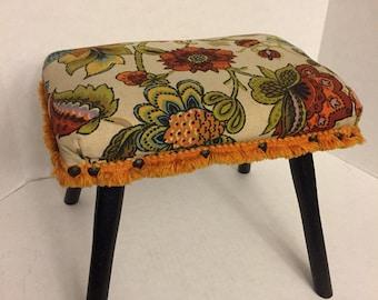 Mid century modern footstool/bench/stool mod flower power
